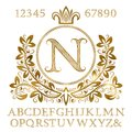 Golden patterned letters and numbers with initial monogram in coat of arms form. Shining font and elements kit for logo design Royalty Free Stock Photo