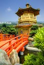 Golden pavilion in hong kong of chi lin nunnery s a r Royalty Free Stock Image