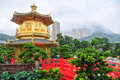 Golden Pavilion of Nan Lian Garden, Hong Kong Royalty Free Stock Photo