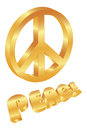 Golden Peace Symbol on White Background Royalty Free Stock Photography