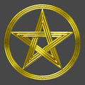 Golden pentacle isolated star coin symbol Royalty Free Stock Photo