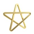 Golden pentagonal five pointed star symbol isolated glossy metal on white background Royalty Free Stock Images