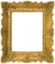 Golden picture frame cutout Royalty Free Stock Images