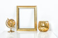 Golden picture frame with decorations. Mock up for your photo Royalty Free Stock Photo