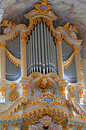 Golden pipe organ Royalty Free Stock Images