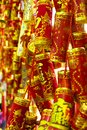 Golden Plastic ornaments for the Chinese New Year Royalty Free Stock Photo