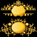 Golden plates with copy space Royalty Free Stock Image