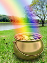 Golden Pot full of Gold Coins Stock Images