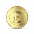 Golden pound coin on white background with clipping path Stock Photos
