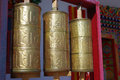 The golden prayer wheel wheel,turn it will be get you good luck Stock Photo