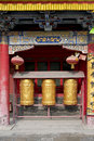 Golden prayer wheels Stock Photography
