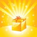 Golden present box Royalty Free Stock Photo