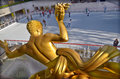 The golden prometheus new york city oct statue at rockefeller center on otc in new york ny this bronze gilded statue is Royalty Free Stock Photo