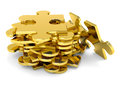 Golden puzzle pieces. Royalty Free Stock Photo
