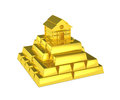 Gold pyramid house at the top Royalty Free Stock Photo