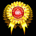 Golden quality badge with ribbon Stock Photography