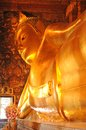 Golden reclining buddha statue thailand wat pho bangkok Royalty Free Stock Photo