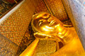 Golden reclining buddha statue wat pho bangkok Stock Images