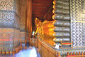 The golden Reclining Buddha, Thailand Royalty Free Stock Photography