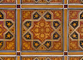 Golden and red islamic persian motif on the ceiling very old star shaped motifs painted Royalty Free Stock Photo