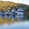 Sailing yachts in marine port, autumn colors, Akuna Bay, Sydney, Australia.