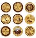 Golden restaurant labels illustration Royalty Free Stock Image