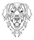 Golden retriever dog zentangle, doodle stylized head, hand drawn Royalty Free Stock Photo