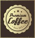 Golden retro coffee label Royalty Free Stock Photo