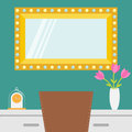 Golden retro makeup mirror with electric light bulb. Shining lamp. Table, chair, vase with flower, clock. Decoration interior elem Royalty Free Stock Photo