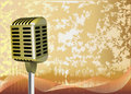 Golden retro microphone background Stock Photography