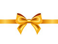 Golden ribbon with bow vector illustration Royalty Free Stock Photography