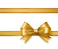 Golden ribbon bow Royalty Free Stock Photo
