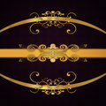Golden ribbons on dark background Stock Photography