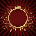 Golden Ring frame banner with Crown Royalty Free Stock Photo
