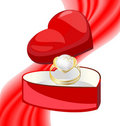Golden ring-pearl in the box-heart Royalty Free Stock Photo