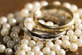 Golden rings and pearl necklace jewellery beautiful old necklaces Stock Photos