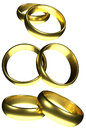 Golden rings wedding isolated Royalty Free Stock Photo