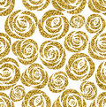Golden roses seamless pattern. Vector design illustration.