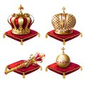 Royal crowns, scepter and orb realistic set