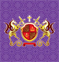 Golden Royal Emblem Horses Shield and Swords Vector Art Purple Background