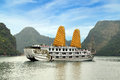 Golden sail Ha Long Bay, Vietnam. Royalty Free Stock Photo