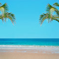 Golden sand and palm tree tropical beach with Stock Images