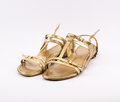 Golden sandals on a white background Stock Images