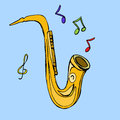 Golden saxophone classical instrument Royalty Free Stock Photo