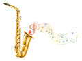 A golden saxophone with musical notes illustration of on white background Stock Images