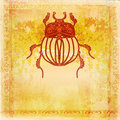 Golden scarab background raster illustration Royalty Free Stock Images