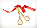Golden scissors cut the red ribbon