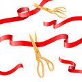 Golden scissors cutting ceremony silk ribbons vector elements for opening event concept