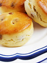 Golden scones with sultana Stock Photography
