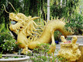 Golden sculpture of asian dragon Royalty Free Stock Photo